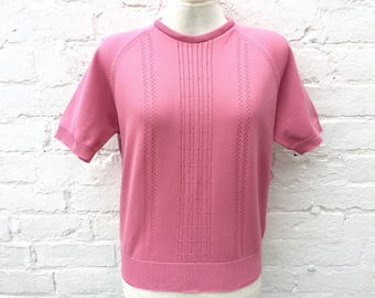 Vintage 50s style top, pink retro short sleeved pullover, women's fashion