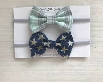 Baby boy bow ties- set of two newborn gift - baby shower gift for boy