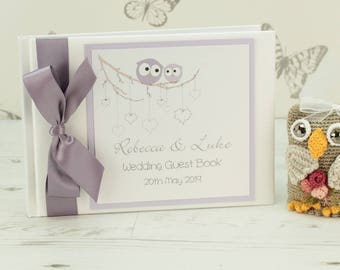Personalised Owls Wedding Guest Book