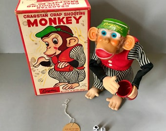 1950s The Alps Cragstan Crap Shooting Monkey Battery Operated Toy