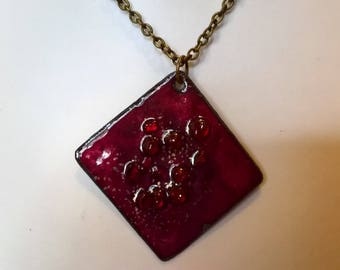 pendant necklace purple red enameled copper with encrusted crystals and glitter gold