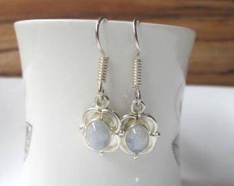 Moonstone Earrings,White Earrings,Everyday Wear Earrings,Handmade Jewelry,Gemstone , Silver Plated, Dangle Earrings,Gift For Her, E32