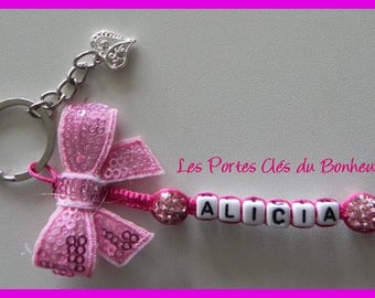 key 1 name pink and Fuchsia with a bow
