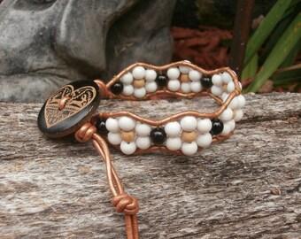 Beaded Leather Wrap Bracelet, Ladder Wrap, Chan Luu Style, White Quartzite, Wood, Black Jasper