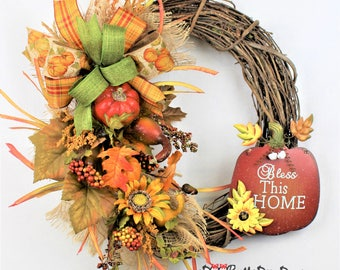 Fall Farmhouse Wreath,, Fall Burlap Wreath, Fall Grapevine Wreath, Bless This Home Wreath, Rustic Fall Wreath, Rustic Wreath, Farmhouse
