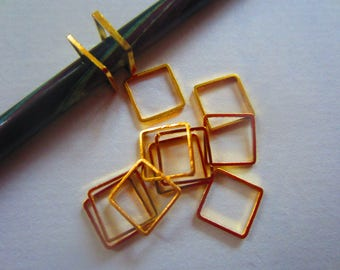 15 Square Stitch Marker Knitting/ Snagless Bronze Copper Silver Gold Gun Metal Ring