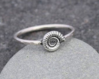 Ammonite Ring -Fossil Ring - Cute Tiny Ammonite Fossil