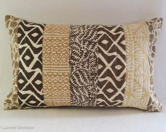 Designer throw pillow cover, linen pillow, boho pillow, shabby chic pillow, patchwork pillow, repurposed linen pillow cover