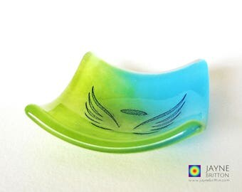 Glass angel bowl, symbol of love, blue and green glass dish, tea light candle holder, gift mom, thank you gift, trinket dish, desk tray
