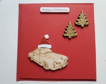Karmann Ghia with Christmas Trees and Santa Hat - Handmade Christmas Card (1 Card)