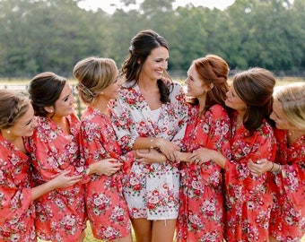 Floral Bridesmaid Robes, Robe for Bridesmaid, Gift for Bridesmaid, Bridesmaids Gift, Bridal Robes, Bridal Robe Set, Wedding Robe
