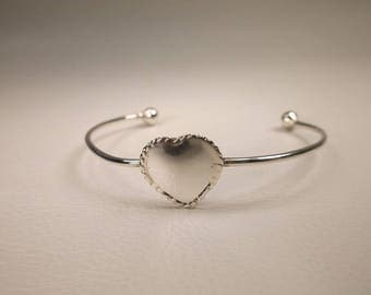 Gorgeous Vintage Sterling Silver Baby Heart Cuff Bracelet 925