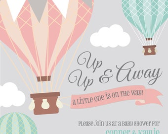 Air balloon baby shower invitation, Boy Balloon Shower Invitation, Girl Balloon Shower Invitation, Gender Neutral Shower, World Baby Shower