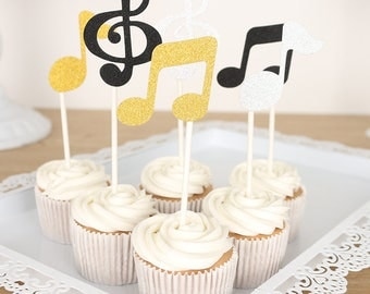 Set of 6 pcs Cake Toppers Music Lovers Cup Cake Decorations