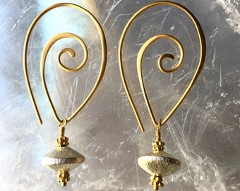 Sterling Silver and Gold Vermeil Earrings, JS2197, Gold Vermeil and Sterling Silver Swirl Earrings, JS2197, Gold and Silver Earrings, JS2197