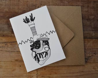 HEART GREETINGS CARD ~ Magical Heart Illustration ~ Galaxy Heart Art ~ Human Anatomy Birthday Card ~ Tattoo Style Birthday Card ~ Yoga Lover