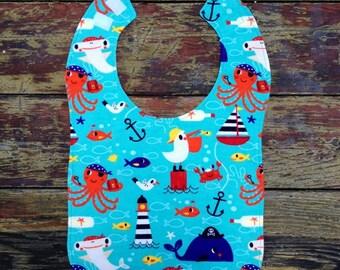 Sea Creatures Toddler Bib, Large Flannel Bib, Boy, Girl, Neutral, 18 months +
