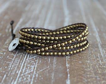 gold metal bead wrap bracelet