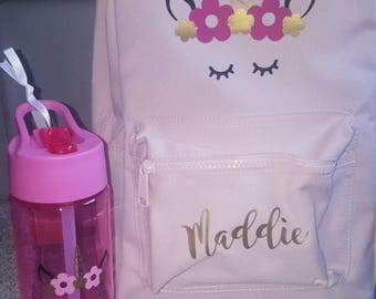 Personalised unicorn backpack and water bottle