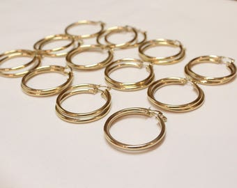 12 Pair 3x35 GOLD hoop earnings for beading, earrings for jewelry making, gold earrings for beading,