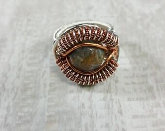 Fancy Jasper Handmade Wire Wrapped Ring