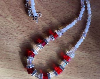 Necklace with square necklace with square crystal glass / crystal glass