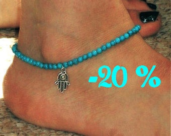 SUMMER SALE / / / turquoise beads and silver Hamsa ankle Bracelet / / / Bohemian gypsy ethnic anklet