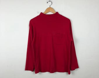 Vintage Red Mock Neck Long Sleeve Size Small, Eddie Bauer Long Sleeve Top