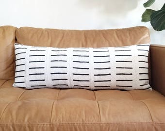 "Cream mudcloth pillow cover, 14""×36"" or 14""×40"" extra long lumbar mudcloth pillow, bed pillow,mudcloth pillow cover, african mudcloth pillow"