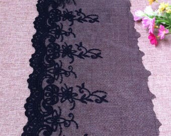 Vintage Black Mesh Embroidery Lace Trim 8.66 Inches Wide 1.09 Yard/   Craft Supplies, WL1724