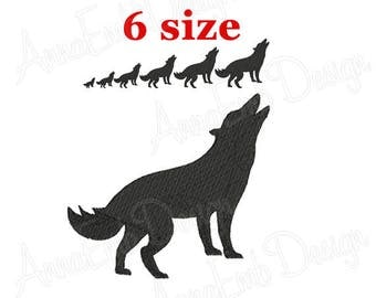 Wolf Embroidery design. Wolf Silhouette. Dog Silhouette. Wolf mini Embroidery. Dog design. Animal embroidery. Machine Embroidery Design.