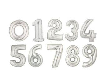 "16 inch Silver Number Balloons // 16"" Silver Foil Balloon // Birthday Celebration // Anniversary // Weddings // Photo Shoots// Bday"