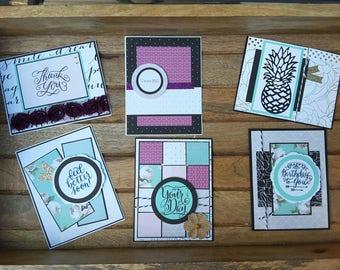 Purple and Sea Foam Cards
