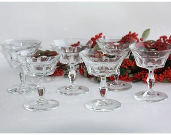 Rare set of 6 Baccarat Crystal champagne glasses model Lauzun