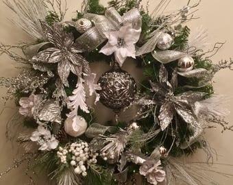 Sale! Extra Large Pewter Designer Christmas Wreath
