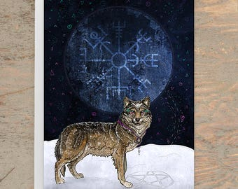 WOLF LOVE Greeting Card - Wolf Greeting Card- Wolf and Moon- Wolves Card- Totem Animal Card- Norse- Pagan, Whimsical Art Card, Illustrated