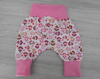 Baby Pink monkey belted cotton harem pants pink 0/1 month