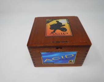 Wooden Cigar Box, Acid Cigars by Drew Estate, Blondie, Brown Wooden Cigar Box