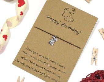 hoppy birthday wish bracelet, friendship bracelet, charm bracelet, best friend bracelet, rabbit charm, bunny charm, happy birthday bracelet