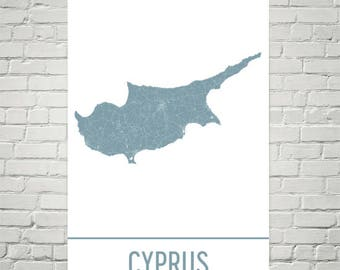 Cyprus Map, Cyprus Art, Cyprus Print, Cyprus Island Poster, Cyprus Gifts, Map of Cyprus, Mediterranean Poster, Cyprus Honeymoon, Turkey
