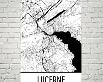 Lucerne Switzerland Print, Lucerne Map, Lucerne Art, Lucerne Print, Lucerne Poster, Swiss Wall Art, Swiss Gifts, Map of Switzerland, Decor