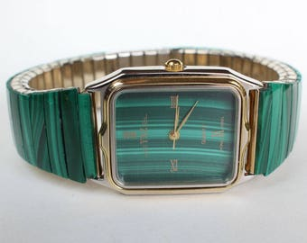 Natural Real Malachite Larger Stone Watch Band Face Mens Womens