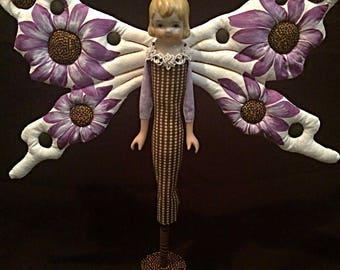 Original Butterfly Folk Art Doll / Vintage Porcelain Doll Head / Assemblage Art Doll / Whimsical Butterfly Doll
