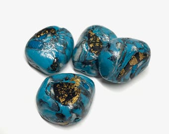 Polymer Clay Beads, Turquoise Gold Nugget Beads, Rustic Beads, Faux Stone Beads, Blue Gold Handmade Beads, For Jewelry Making, Chunky Beads