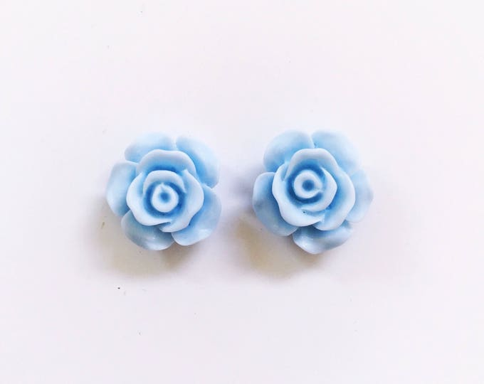 The 'Baby Blue' Flower Earring Studs