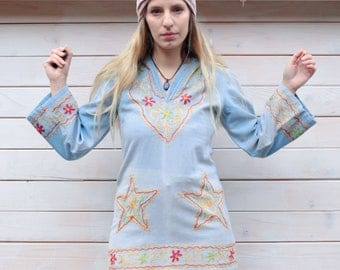 Vintage 70's Bell Sleeve Embroidered Tunic