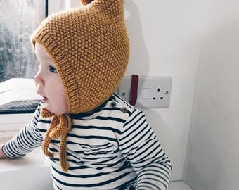 Hand Knitted Pixie Bonnet