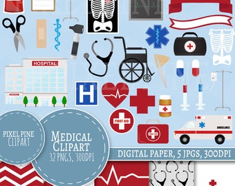 Medical Clipart, Doctors themed clipart set 32 PNGs, 5 Nurses Digital Paper JPGs, Commercial Use, Doctors clipart, Hospital Clipart pngs