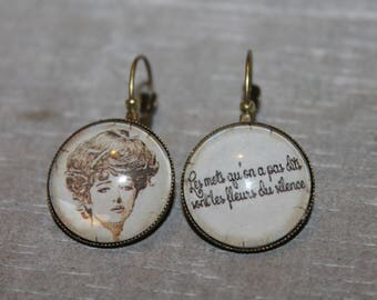 """The words are not said are flowers of silence"" - earrings metal Stud Earrings"