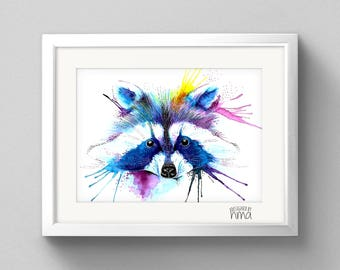 A4 Raccoon Watercolour Print